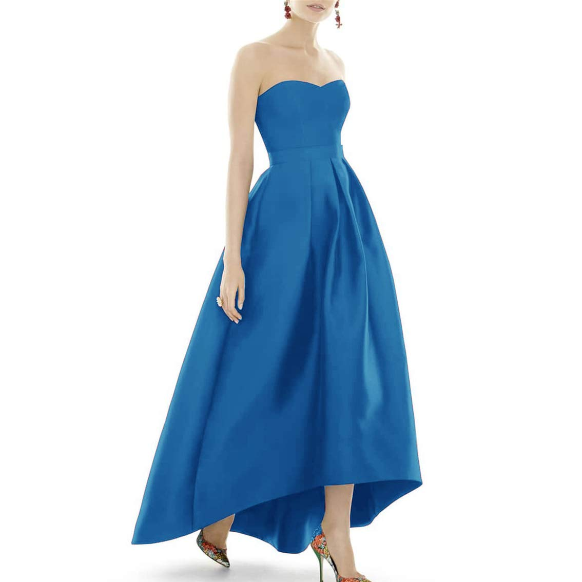 bluee XSWPL Women's Strapless High Low Bridesmaid Dresses Sweetheart Satin Prom Gowns ALine