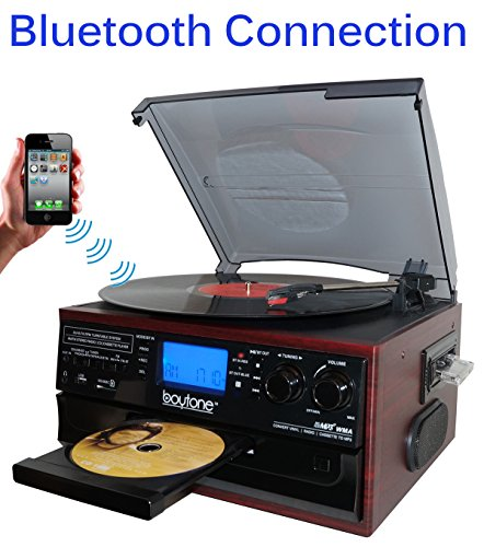 Boytone BT-22C, Bluetooth Record Player Turntable, AM/FM Radio, Cassette, CD Player, 2 built in speaker, Ability to convert Vinyl, Radio, Cassette, CD to MP3 without a computer, SD Slot, USB, AUX by Boytone