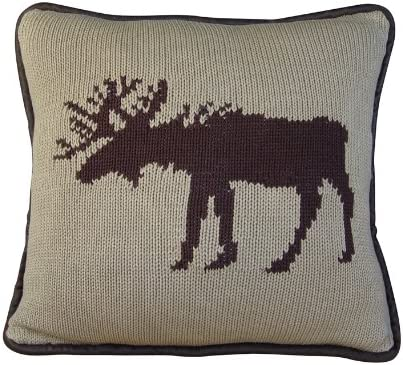 HiEnd Accents Knitted Moose Lodge Pillow