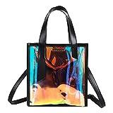 Hologram Stone-print Shoulder Handbag Holographic Clear Tote Bag Crossbody Beach Bag (black)