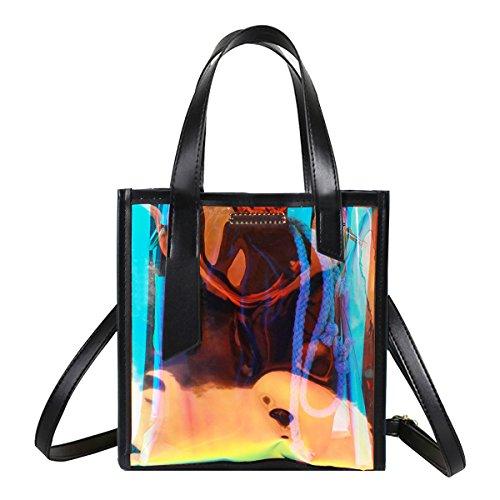- Hologram Stone-print Shoulder Handbag Holographic Clear Tote Bag Crossbody Beach Bag (black)