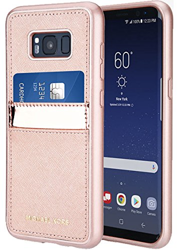 Michael Kors Saffiano Leather Pocket Case Samsung Galaxy S8 Plus - Rose - Mark Kors