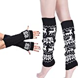 ZTL Knit Fingerless Gloves Arm Warmers and Leg Warmers Boot Socks Set for Women