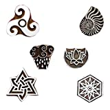 Wooden Printing Block Celtic, Sea Shell, Lotus On Moon Textile Stamp for Scrapbook Heena Tattoo Clay Pottery Set of 6