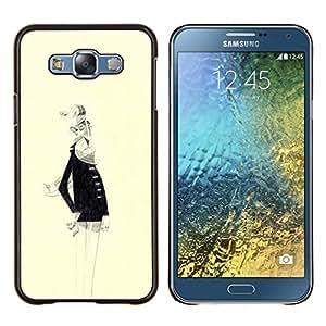 YiPhone /// Prima de resorte delgada de la cubierta del caso de Shell Armor - Anciano Barba Blanca Dibujo del arte del retrato - Samsung Galaxy E7 E700