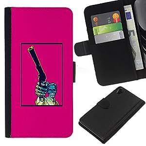 iBinBang / Flip Funda de Cuero Case Cover - Pink Pistola Cráneo del vintage impresiones - Sony Xperia Z2 D6502