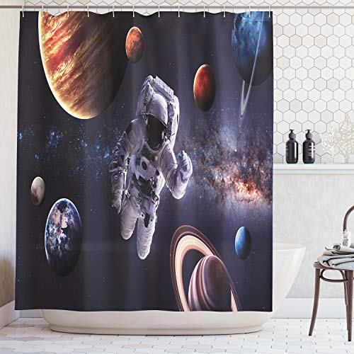 Curtain Mars - Ambesonne Outer Space Decor Shower Curtain, Astronaut Between Planets Mars Neptune Jupiter Plasma Ethereal Sphere Picture, Fabric Bathroom Decor Set with Hooks, 75 Inches Long, Dark Blue