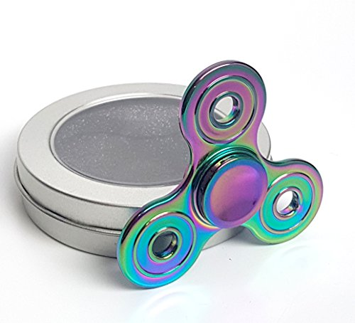 Iridescent Rainbow Fidget Spinner for Adults & Kids Anti-Anxiety Focus Stress Reliever Reducer ADHD Boredom Finger Hand Toy