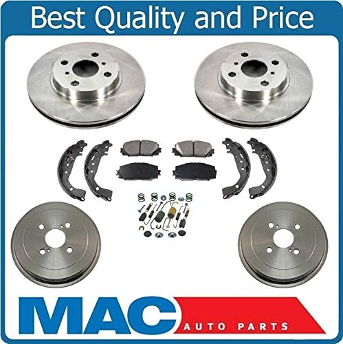New Front Rotors Rear Drums Brake Pads Shoes Spring Kit for Toyota Yaris 06-15