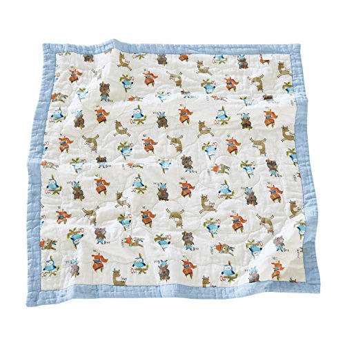 J-pinno Animals Rabbit Bear Fox Owl Baby Nursery Muslin Cotton Bed Quilt Blanket Crib Coverlet 43.5' X 43.5' (Animals)
