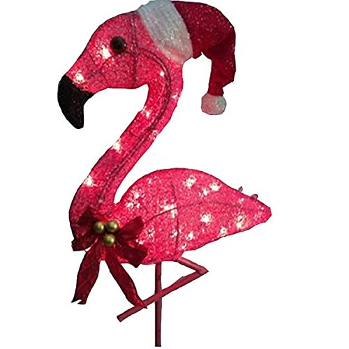lighted flamingo christmas yard decoration