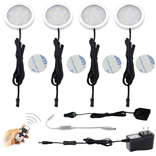 AIBOO LED Under Cabinet Lighting Kit 4 Packs of 12V Puck Lights with RF Dimmable Wireless RF Remote Control for Kitchen, Closet, Gun Safe Lighting(Warm White)