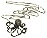leegoal Vintage Steampunk Nautical Style Antiqued Bronze Octopus Necklace 28 inch Long Chain