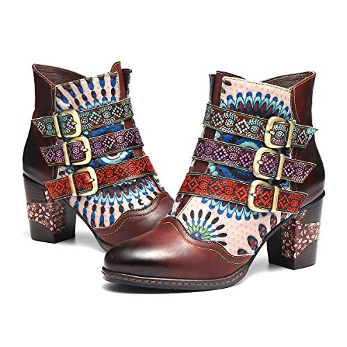 Handmade Leather Boots (gracosy Leather Ankle Booties Handmade Splicing Pattern Short Boot Side Zipper Block Heel Boots for Women Brown 10 M US)