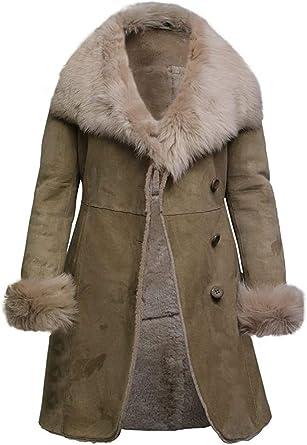 Manteau Femme Beige Daim Cuir Avec Véritable Fourrure De