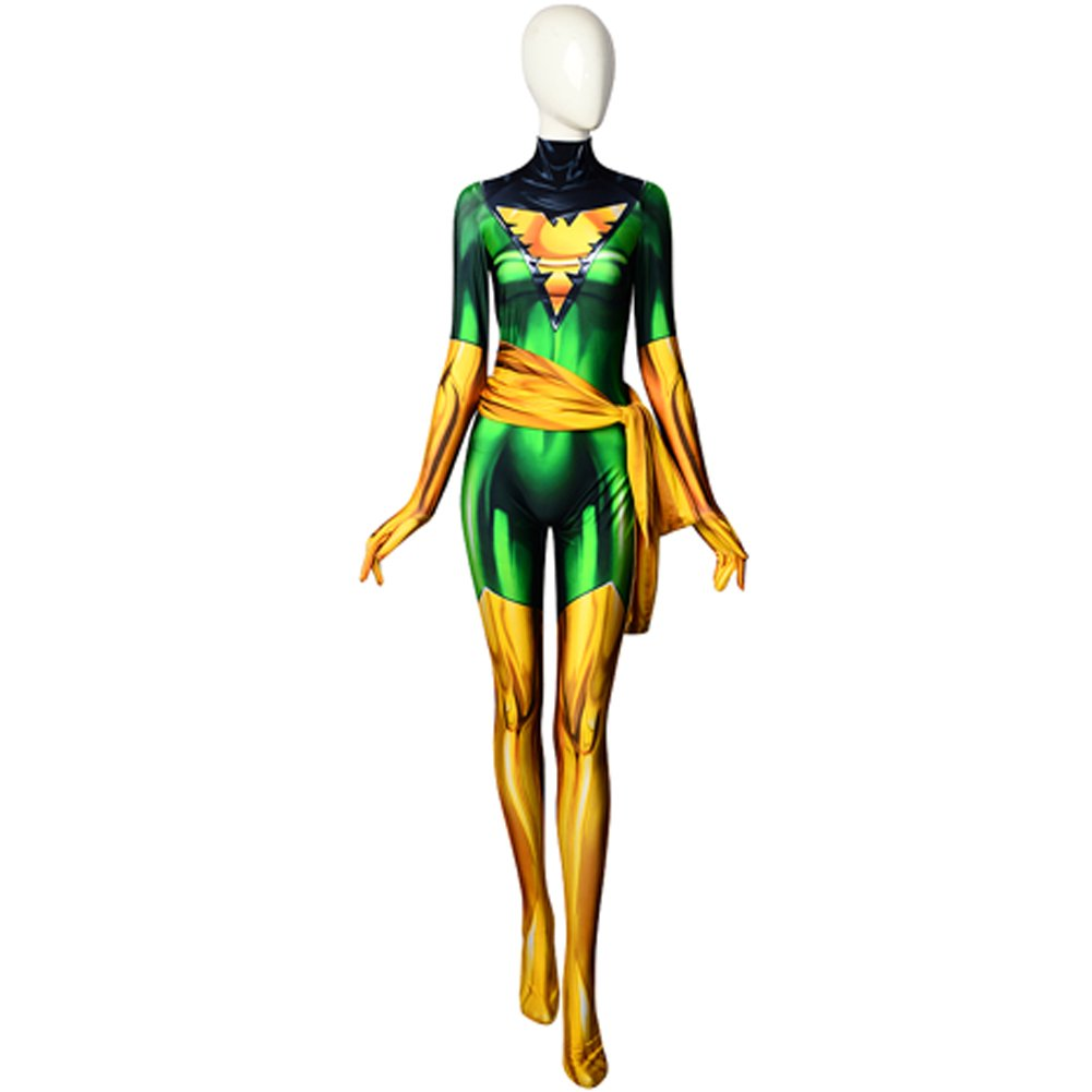 ourworth Dark Green Phoenix Cosplay Costume X-Men Jean Grey Bodysuit