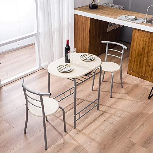 3 Piece Dining Set Compact 2 Chairs and Table Set Modern Breakfast Table Set