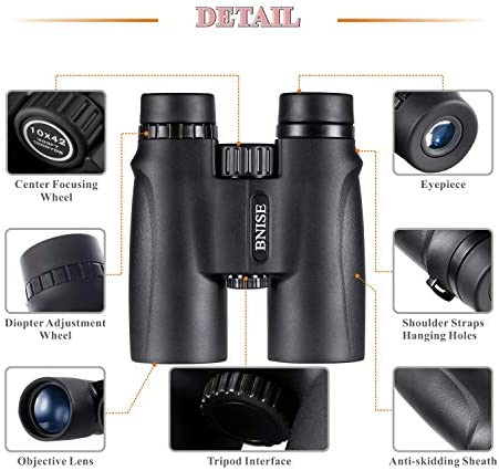 10X42 Binoculars for Adults, Compact Professional Binoculars with Bright and Clear Range of View for Bird Watching, for Hunting, for Stargazing, Comes with Case, Strap