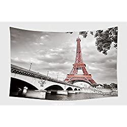 Home Decor Tapestry Wall Hanging View Of Eiffel Tower In Monochrome Style With Selective Colorization 105716543 for Bedroom Living Room Dorm