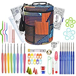 Crochet Hooks Set with Large Knitting Yarn Storage Bag - Complete Crochet Kit with Accessories for Beginners - Knitting Hook with Case - Ergonomic Starter Crocheting Needles by DiyerClub Crafts