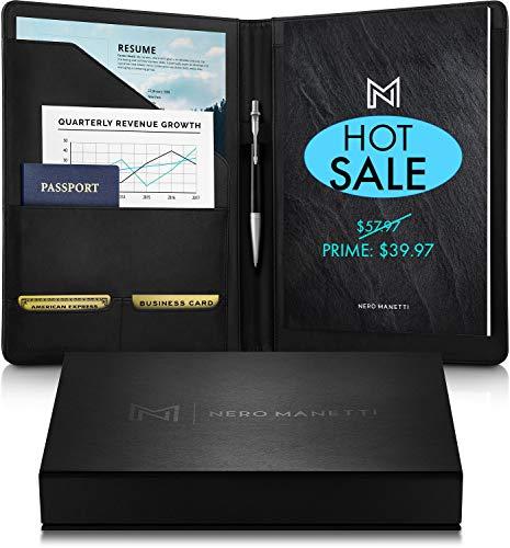 (NERO MANETTI- Leather Portfolio Folder - Business PU Leather Portfolio Notepad Holder for Resumes, Legal Pad Portfolio Executive Binder, Professional Padfolio Notebook for Women/Men)