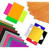 DIY Arts n Crafts 18 Heat Transfer Vinyl Sheets 10x12'' With Teflon Sheet   6 PU, 8 Glitter & 4 Neon   Easy To Cut, Weed & Trim   For T-Shirts, Bags, Sweaters, Personalized Gifts, Hoodies & More