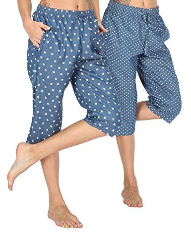 Dot Capri Pajama - WEWINK CUKOO Soft Denim Cotton Women Pajama Capri Lounge Pants with Pockets (Poker+ Dots Capris, S=US 4-6)