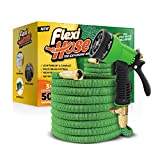"Flexi Hose Upgraded Expandable Garden Extra Strength, 3/4"" Solid Brass Fittings The Ultimate No-Kink Flexible Water Hose,8 Function Spray Included, Green"