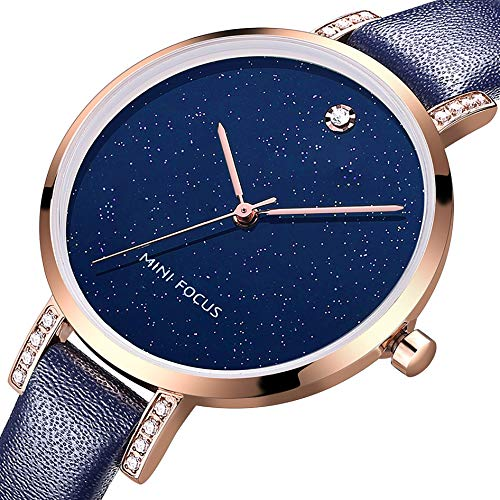 MF MINI FOCUS Women Fashion Watch with Leather Strap (Blue, Black, Alloy, Wear-Resistant Crystal) Analog Quartz Female Wristwatch for Gift ()