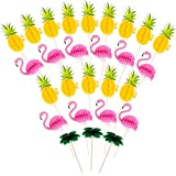 Boao 90 Pieces Flamingo Pineapple Coconut Tree Cupcakes Toppers Luau Hawaii Birthday Wedding Beach Party Decoration