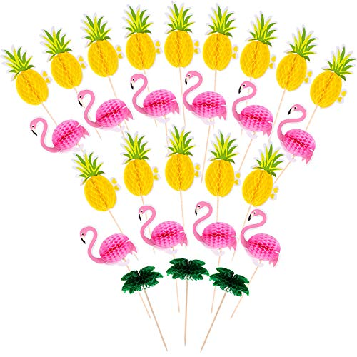 - Boao 90 Pieces Flamingo Pineapple Coconut Tree Cupcakes Toppers Luau Hawaii Birthday Wedding Beach Party Decoration
