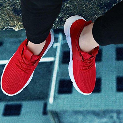 OverDose Mode Herren Breathable Sportschuhe Riemen Sport Running Sneakers Schuhe Basketballschuhe Freizeit Schuhe A-Red