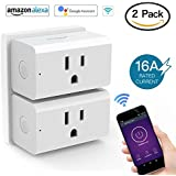 16A WiFi Smart Plug Smart Outlet Works with Amazon Alexa and IFTTT Google Assistant Remote Control Your Devices from Anywhere 2 Pack