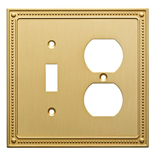 Plate Duplex Gang Single Wall - Franklin Brass W35062-BB-C Classic Beaded Switch/Duplex Wall Plate/Switch Plate/Cover, Brushed Brass