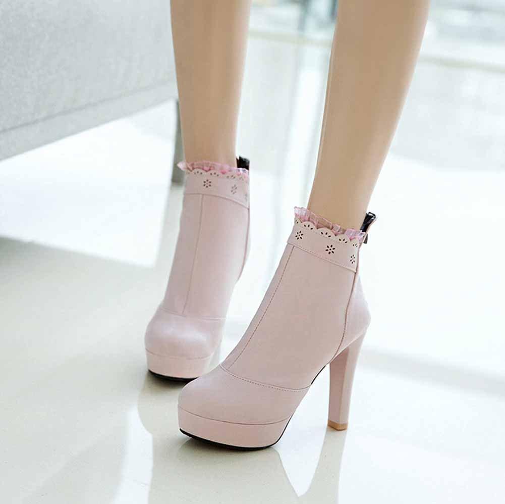 GLTER Alto Tamaño Botas de Tobillo de de Mujer Plataforma de de Encaje ca2c8d