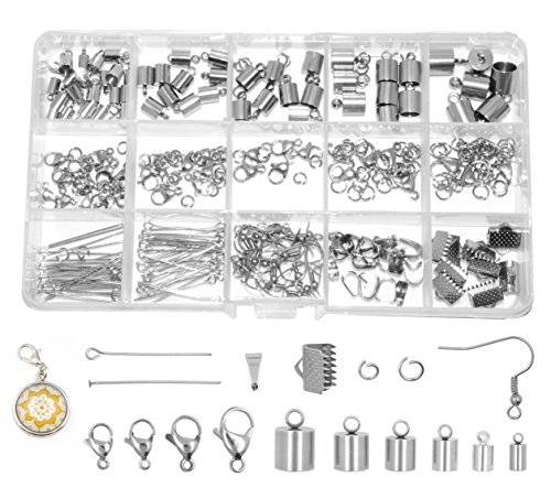 Mandala Crafts Stainless Steel Kumihimo Cord End Cap, Clasp, Ribbon Clamp, Bail Jewelry Finding Supplies Starter Kit (Endcaps, Lobster Clasps, Jump Rings, Pins, Earring Hooks, Bails, Ribbon Ends) (With Caps End Starter Rings)