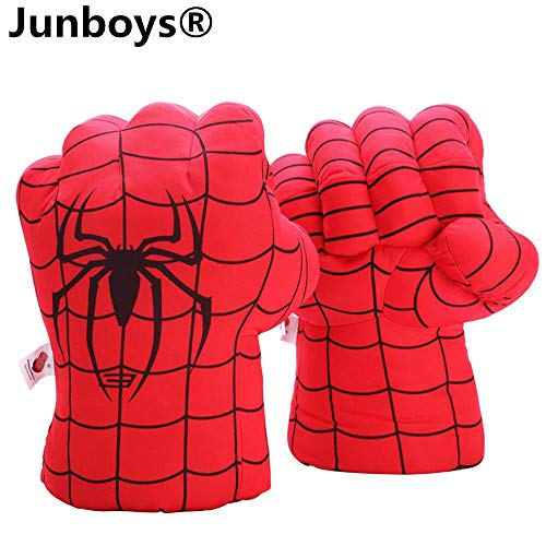 Junboys Plush Kids Boxing Glove Spiderman Toys Super Hero Spider Man Gloves, Smash Hands Fists Super Man Spider, Incredibles Spider-Man Costume Cosplay Dolls for Boys Girls. (1 Pair, Red) ()