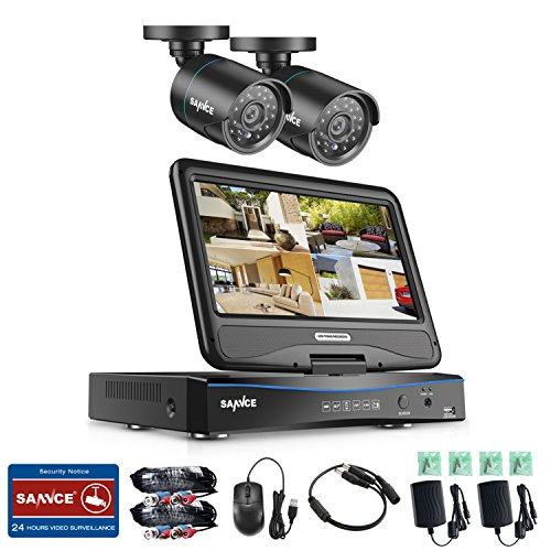 SANNCE 8CH DVR Recorder with 10'' Monitor, 1080N Surveillance Video Security System and 2PCS 1500TVL Weatherproof Outdoor Bullet Cameras Surveillance Kit, No Hard Drive, Not Wireless ()