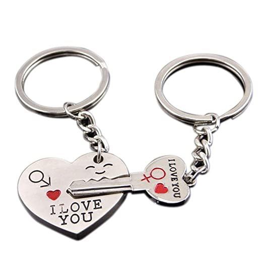 2Pcs Couples Heart Key Ring Lovers Love Key Chain Valentine s Day ... 2172441fc4