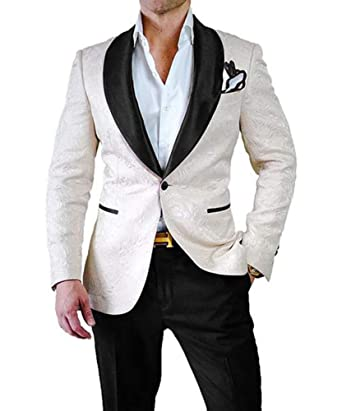 22c788b20c7e PAISUN Mens 2 Piece White Dress Suit Set One Button Tuxedo Blazer & Pants
