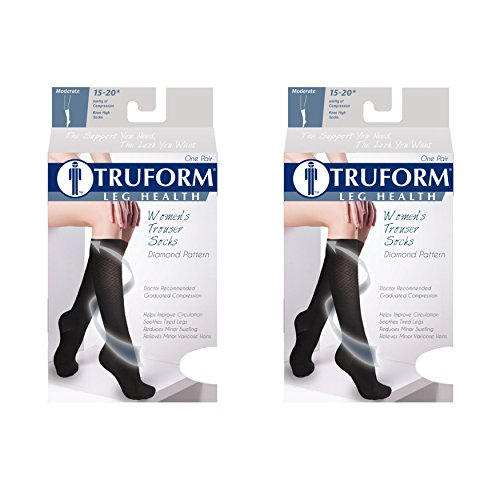 Truform Women's Fit Compression Socks, Diamond Knit Pattern, 15-20 mmHg, Black, Medium (Pack of (Diamond Pattern Trouser Socks)