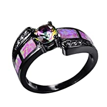 WOWJEW Pink Fire Opal Ring With White Rainbow AAA Zircon 14KT Black Gold Filled Vintage Wedding Rings