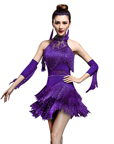 ZX Women's Rhinestone Tassel Flapper Latin Rumba Dance Dress 4 Pieces Outfits (Large, Purple)]()