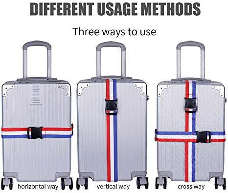 THEE Adjustable Cross Luggage Straps Suitcase Belts Travel Tags