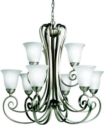 (Kichler Lighting 1828NI 9 Light Willowmore Chandelier, Brushed Nickel)