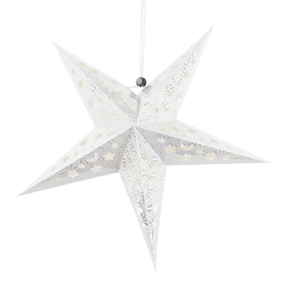 BESTOYARD 45cm Papier é toile Lanterne 3D Pentagramme Abat-Jour pour noë l fê te de Noë l