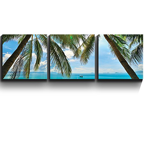 3 Square Panels Contemporary Art Tropical beach palm trees paradise Three Gallery ped Printed Piece x3 Panels