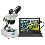 OMAX 20X-40X Cordless Dual LED Lights Stereo Binocular Microscope with USB Digital Camera