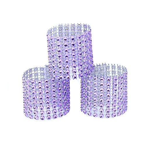 BERTERI Rhinestone Napkin Rings, 50PC Adornment Bling Napkin