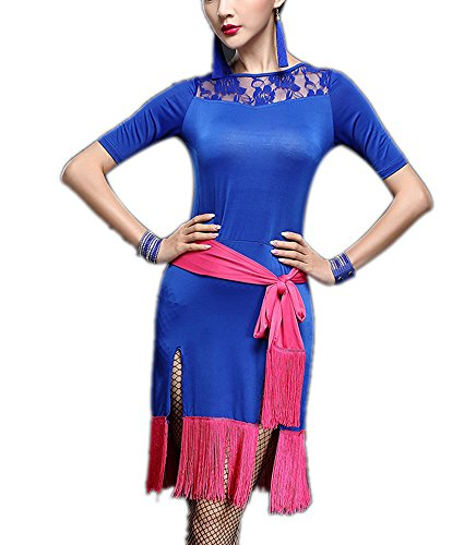 [Traditional Salsa Trends 1920 Great Gatsby Dance Performance Outfit Costume Blue] (Traditional Salsa Costumes)